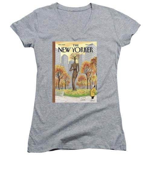 New Yorker November 19th, 2001 Women's V-Neck