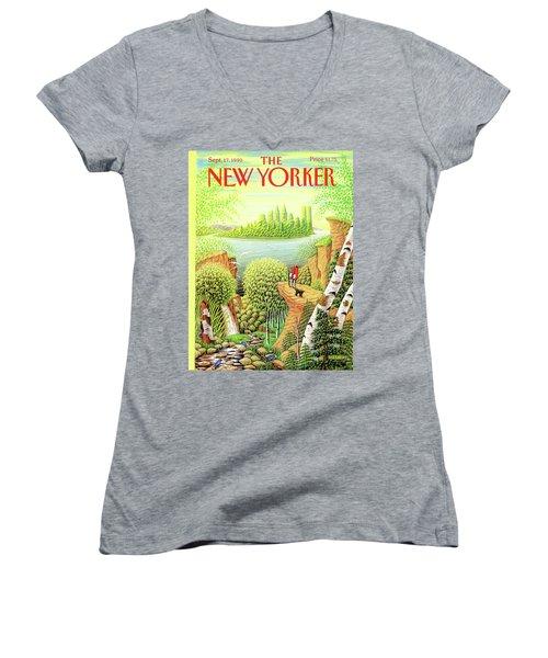 Green New York Women's V-Neck