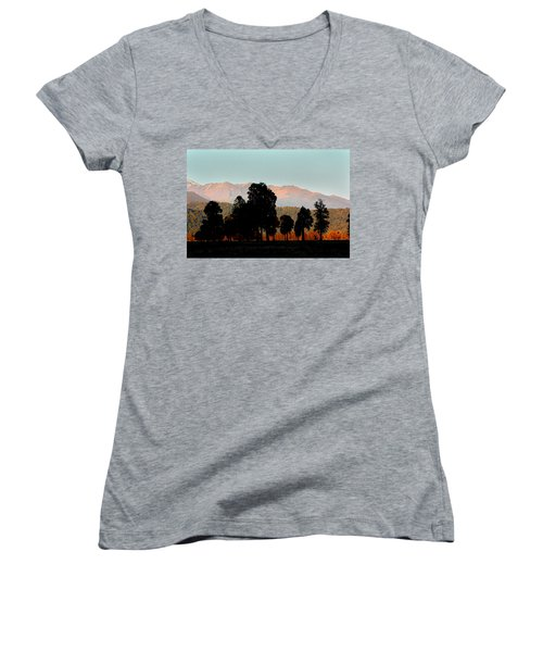 Women's V-Neck T-Shirt (Junior Cut) featuring the photograph New Zealand Silhouette by Amanda Stadther