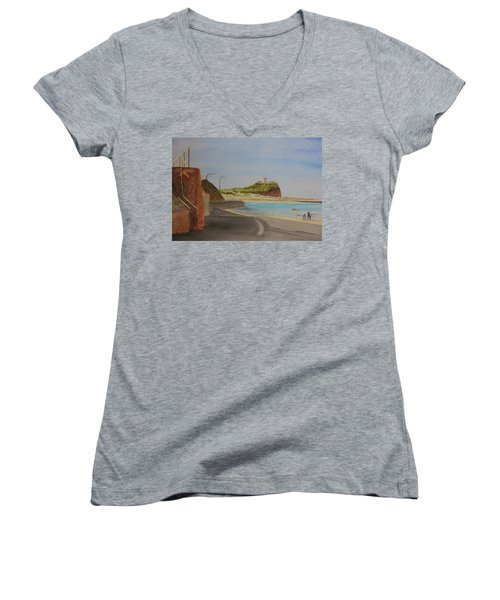 Women's V-Neck T-Shirt (Junior Cut) featuring the painting Newcastle Nsw Australia by Tim Mullaney