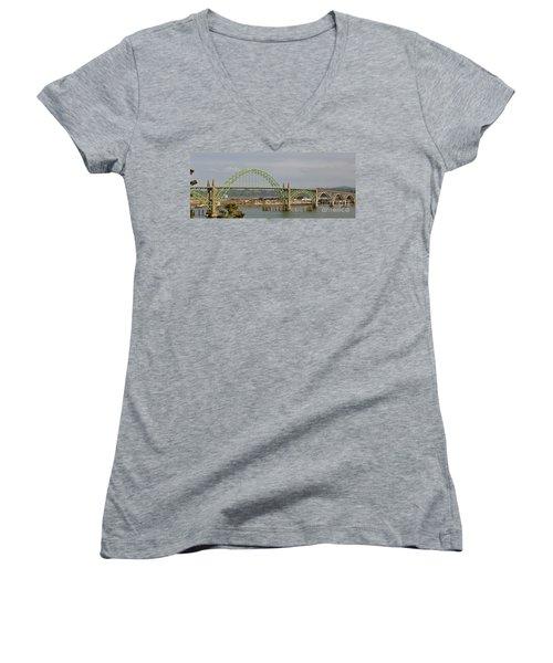 Newport Bay Bridge Women's V-Neck T-Shirt (Junior Cut) by Susan Garren