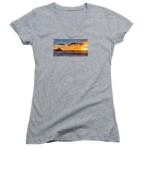 Newport Beach Pier - Sunset Women's V-Neck T-Shirt (Junior Cut) by Jim Carrell