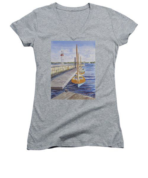 Women's V-Neck T-Shirt (Junior Cut) featuring the painting Newport Boats In Waiting by Carol Flagg