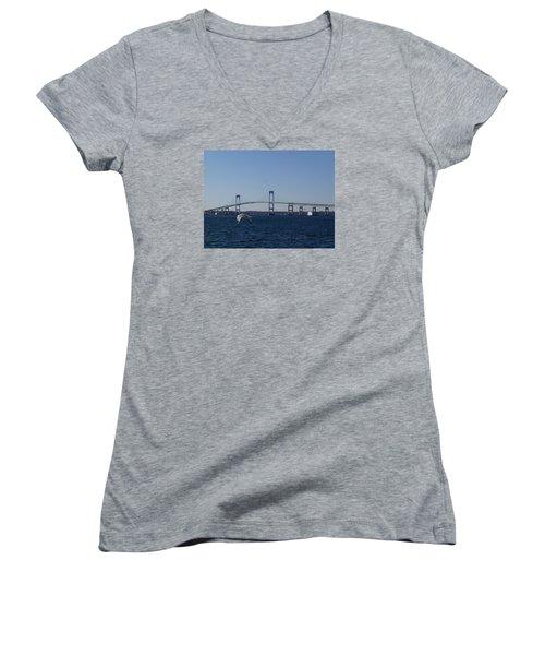 Newport Bridge Women's V-Neck T-Shirt (Junior Cut) by Robert Nickologianis