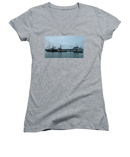 Newport Fishing Boats Women's V-Neck T-Shirt (Junior Cut) by Chalet Roome-Rigdon