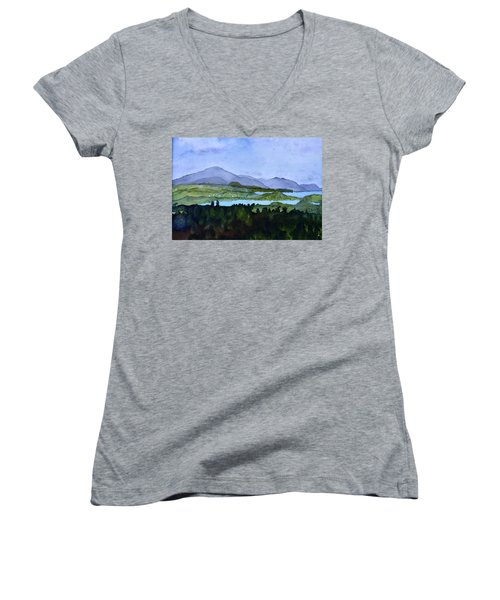 Women's V-Neck T-Shirt (Junior Cut) featuring the painting Newport From Brownington Lookout by Donna Walsh