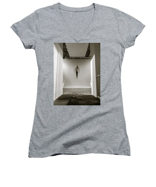 Women's V-Neck T-Shirt (Junior Cut) featuring the photograph Newton's First Law by Alex Lapidus