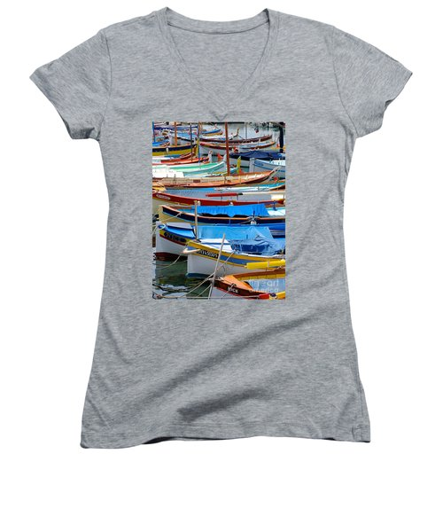 Nice Boats  Women's V-Neck T-Shirt (Junior Cut) by Suzanne Oesterling