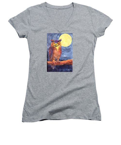 Women's V-Neck T-Shirt (Junior Cut) featuring the painting Night Owl by Nancy Jolley