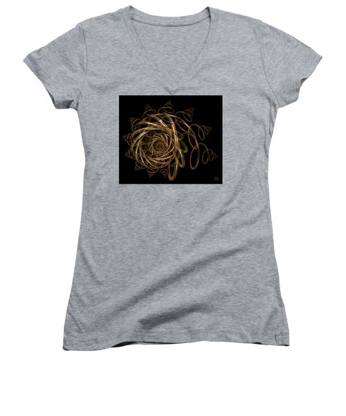 Women's V-Neck T-Shirt (Junior Cut) featuring the digital art Nightfall by Manny Lorenzo