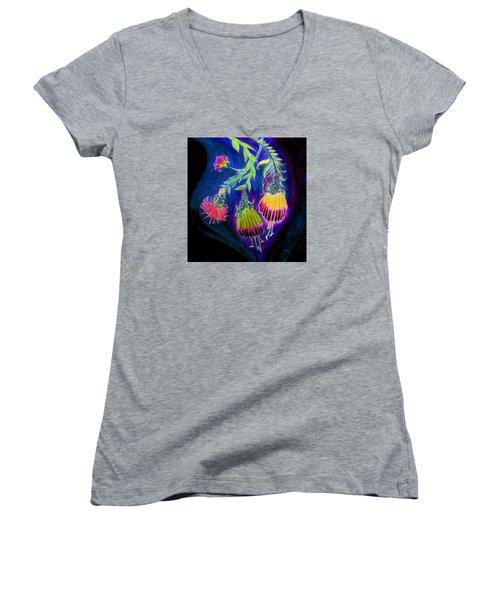 Nightflowers Bright Women's V-Neck T-Shirt (Junior Cut) by Adria Trail
