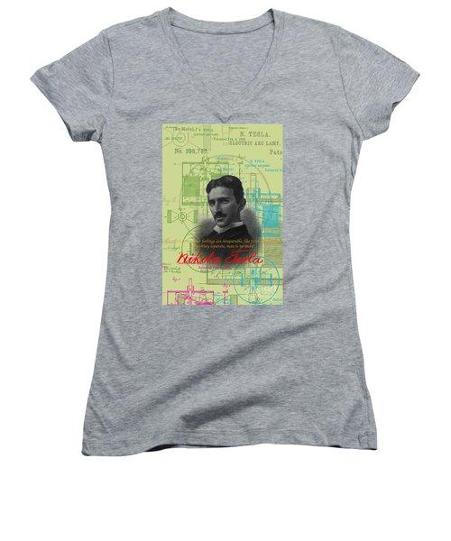 Nikola Tesla #3 Women's V-Neck T-Shirt (Junior Cut) by Jean luc Comperat