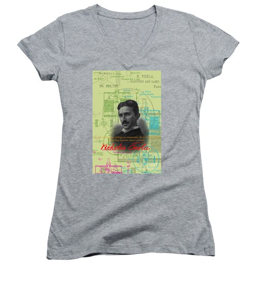 Nikola Tesla #3 Women's V-Neck