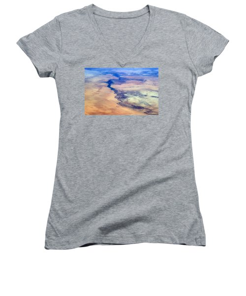 Women's V-Neck T-Shirt (Junior Cut) featuring the photograph Nile River From The Iss by Science Source