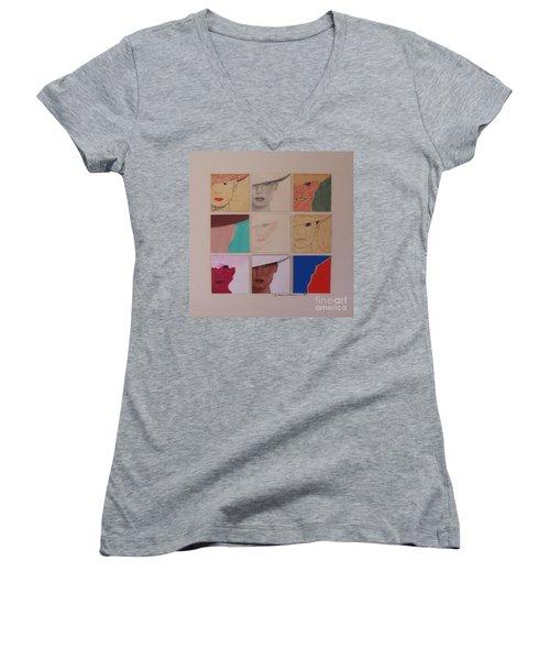 Nine Ladies Lolling Women's V-Neck T-Shirt (Junior Cut) by Susan Williams