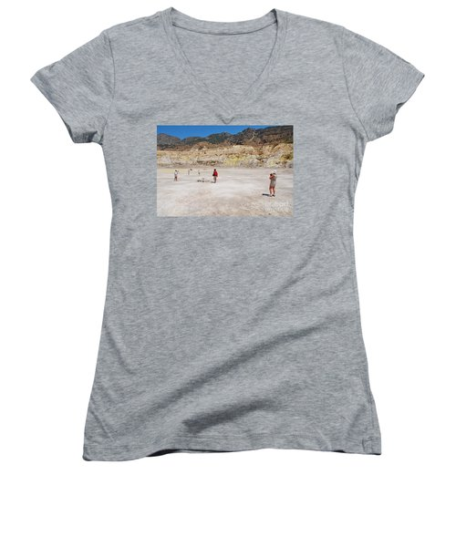 Nisyros Volcano Greece Women's V-Neck T-Shirt