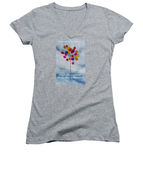 No Boundaries Women's V-Neck T-Shirt (Junior Cut) by Emmy Marie Vickers