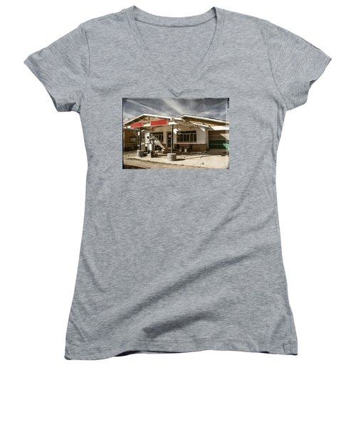 Women's V-Neck T-Shirt (Junior Cut) featuring the photograph No Gas by Steven Bateson