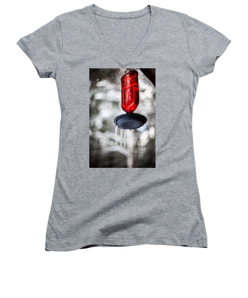 Women's V-Neck T-Shirt (Junior Cut) featuring the photograph No Hummingbirds Today by Aaron Aldrich