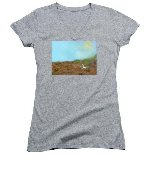 No Man's Land Women's V-Neck T-Shirt (Junior Cut) by Renee Michelle Wenker