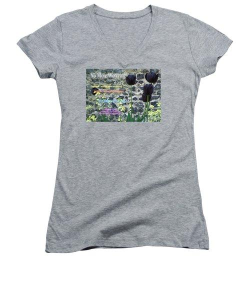 No More Worrying Women's V-Neck T-Shirt