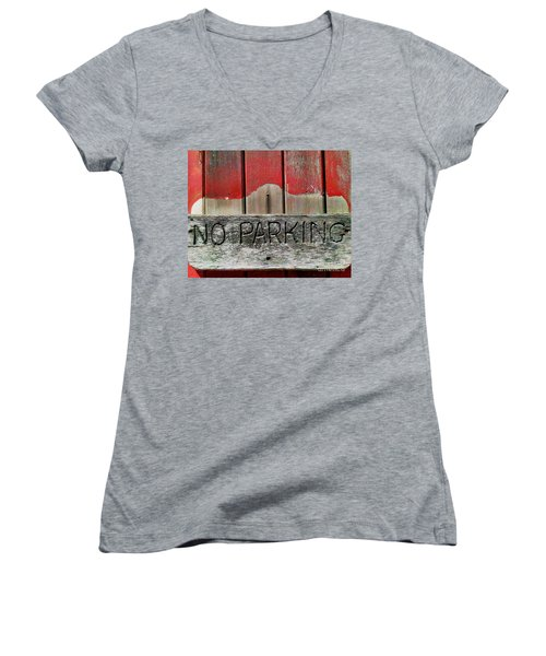 No Parking Women's V-Neck T-Shirt (Junior Cut) by James Aiken