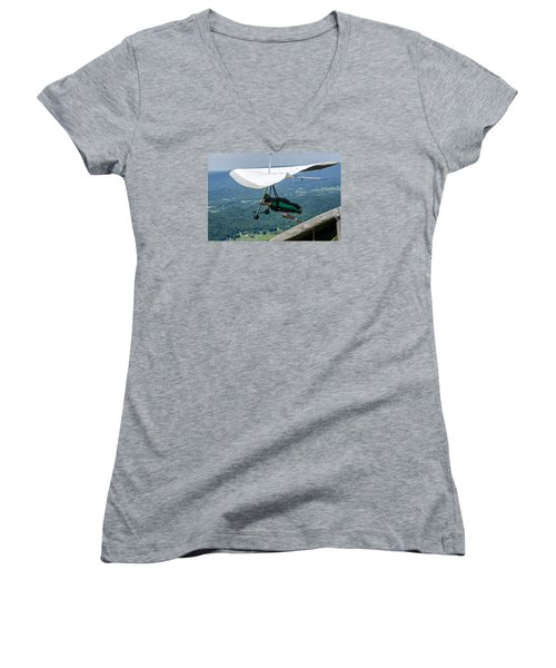 Women's V-Neck T-Shirt (Junior Cut) featuring the photograph No Turning Back by Susan  McMenamin