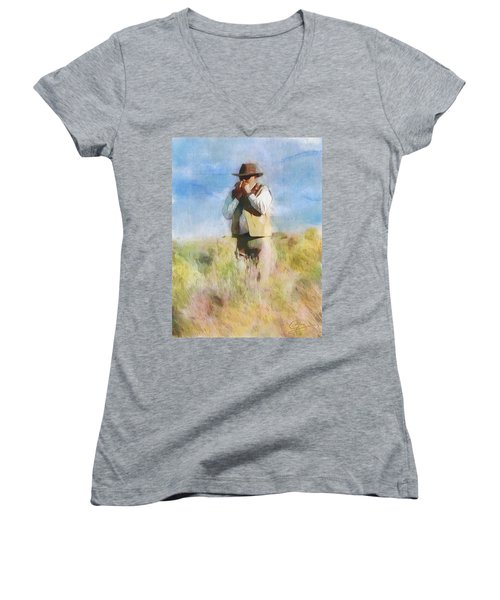 Women's V-Neck T-Shirt (Junior Cut) featuring the painting No Useless Cares by Greg Collins