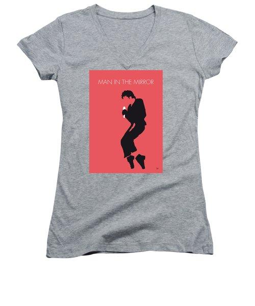 No032 My Michael Jackson Minimal Music Poster Women's V-Neck T-Shirt (Junior Cut) by Chungkong Art