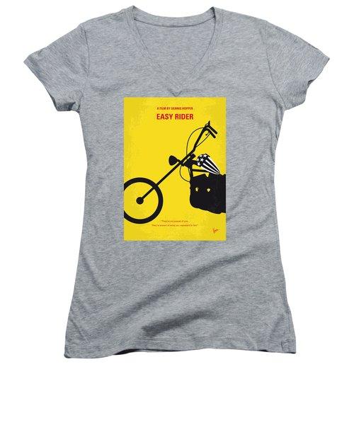 No333 My Easy Rider Minimal Movie Poster Women's V-Neck T-Shirt (Junior Cut) by Chungkong Art