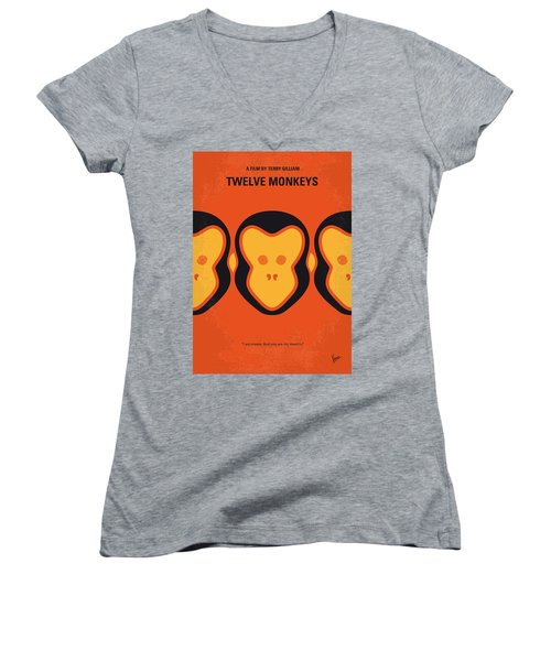 No355 My 12 Monkeys Minimal Movie Poster Women's V-Neck (Athletic Fit)