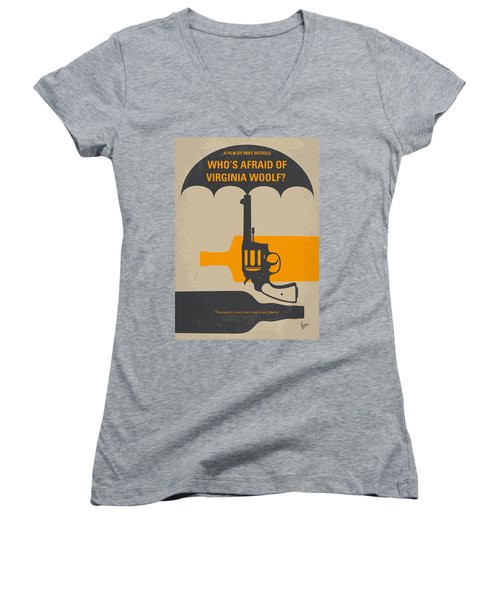 No426 My Whos Afraid Of Virginia Woolf Minimal Movie Poster Women's V-Neck T-Shirt (Junior Cut) by Chungkong Art