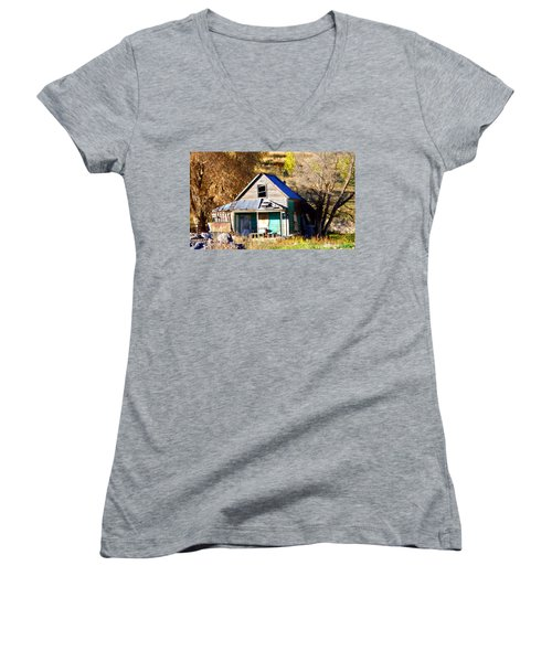 Women's V-Neck T-Shirt (Junior Cut) featuring the photograph Nobody's Home by Jackie Carpenter