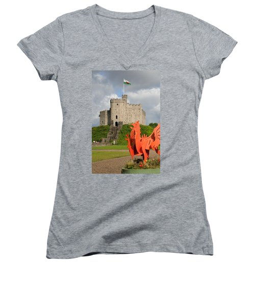 Norman Keep Cardiff Castle Women's V-Neck T-Shirt (Junior Cut) by Jeremy Voisey