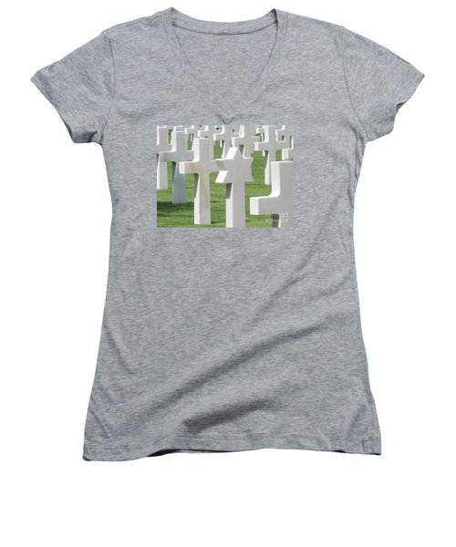 Women's V-Neck T-Shirt (Junior Cut) featuring the photograph Normandy American Cemetery by HEVi FineArt