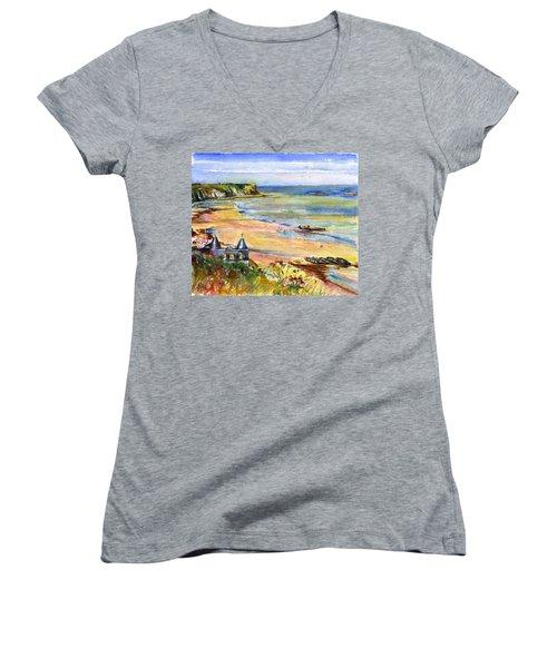 Normandy Beach Women's V-Neck T-Shirt (Junior Cut) by John D Benson