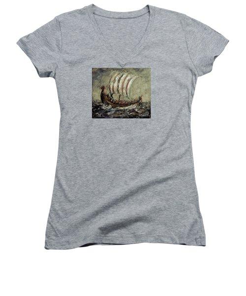Norse Explorers Women's V-Neck T-Shirt (Junior Cut) by Arturas Slapsys