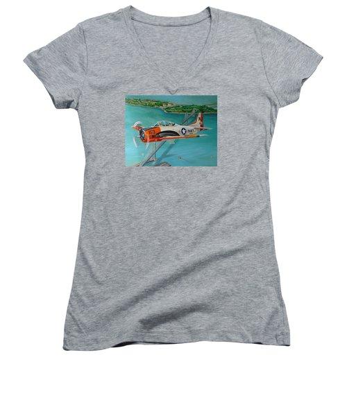 North American T-28 Trainer Women's V-Neck T-Shirt