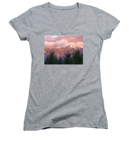 North Bend Washington Sunset 2 Women's V-Neck T-Shirt