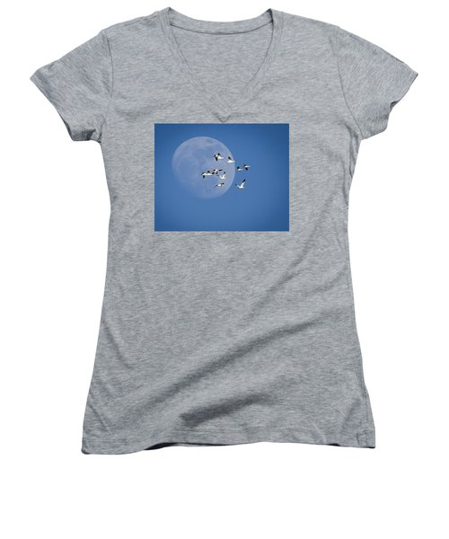 Women's V-Neck T-Shirt (Junior Cut) featuring the photograph North Bound by Jack Bell