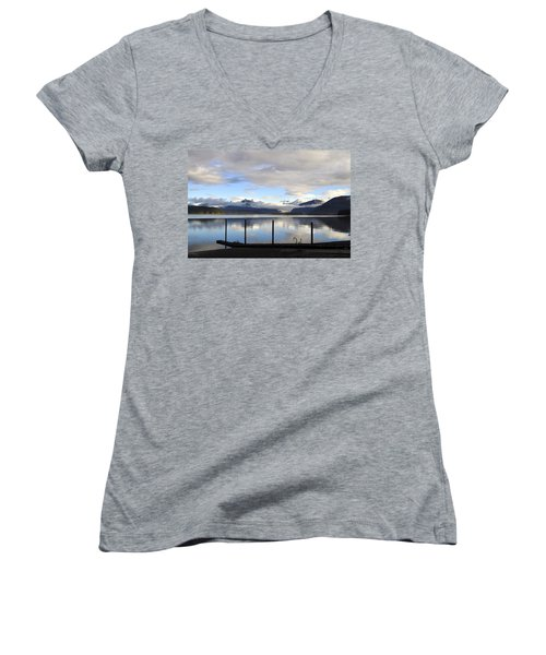 Women's V-Neck T-Shirt (Junior Cut) featuring the photograph North Douglas Reflections by Cathy Mahnke