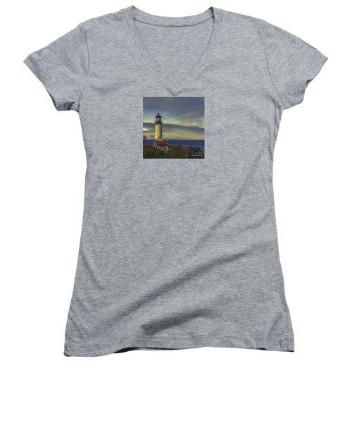 North Head Lighthouse Women's V-Neck T-Shirt (Junior Cut) by Jean OKeeffe Macro Abundance Art