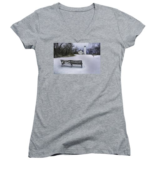 North Point Lighthouse And Bench Women's V-Neck T-Shirt (Junior Cut) by Scott Norris