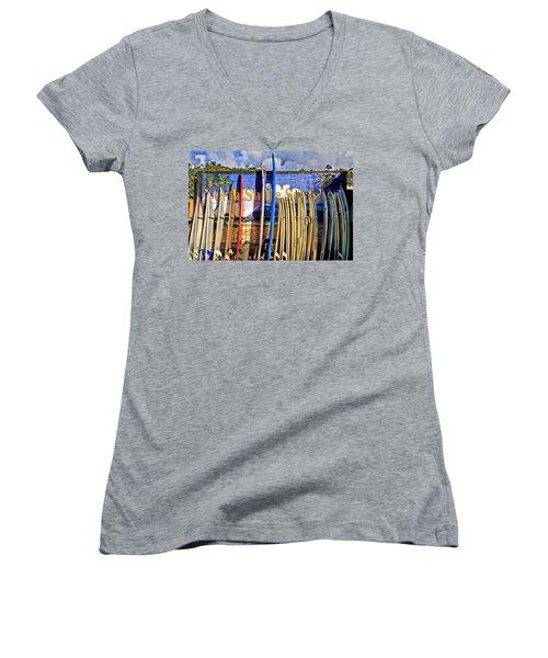 North Shore Surf Shop Women's V-Neck T-Shirt (Junior Cut) by DJ Florek