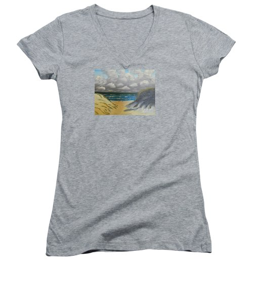 Women's V-Neck T-Shirt (Junior Cut) featuring the painting North Windang Beach by Pamela  Meredith