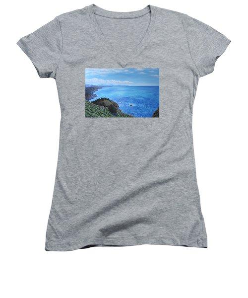 Northern California Coastline Women's V-Neck T-Shirt (Junior Cut) by Penny Birch-Williams