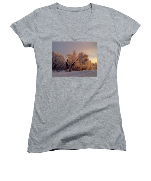 Women's V-Neck T-Shirt (Junior Cut) featuring the photograph Northern Light by Jeremy Rhoades