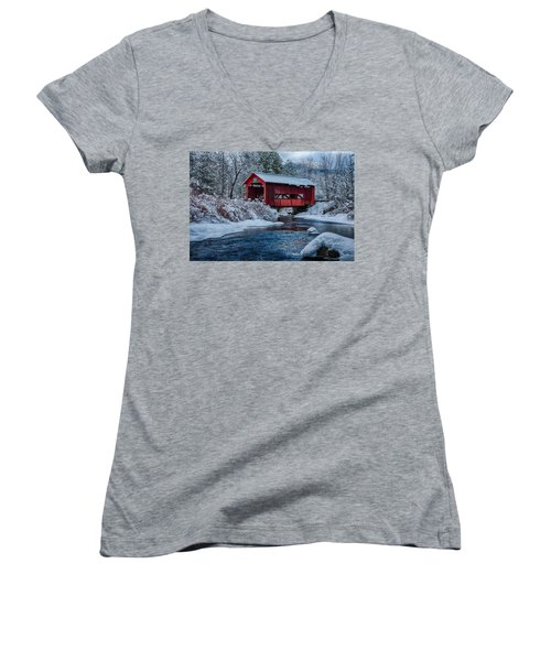Northfield Vermont Covered Bridge Women's V-Neck