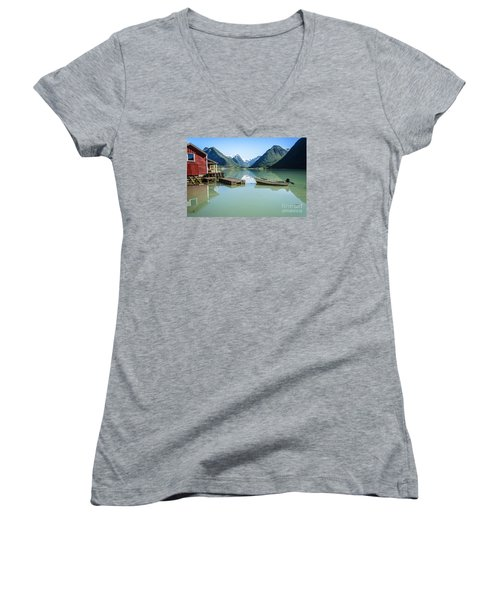 Reflection Of A Boat And A Boathouse In A Fjord In Norway Women's V-Neck T-Shirt (Junior Cut) by IPics Photography