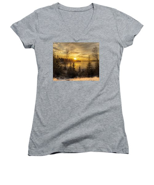 Women's V-Neck T-Shirt (Junior Cut) featuring the photograph Norway Hedmark by Rose-Maries Pictures